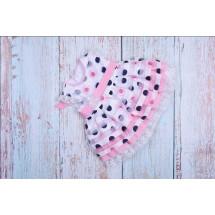 Платье нарядное для малышек в горох с розовыми розочками bebus