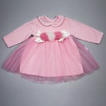 Платье нарядное для малышек розового цвета Велюр