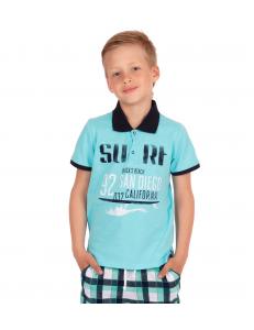"""Рубашка-поло для мальчиков бирюзового цвета """"Ривьера"""""""