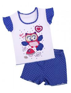 """Пижама летняя синего цвета """"сова с грибом"""""""