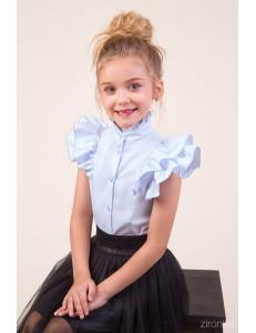 """Блузка голубого цвета с коротким рукавом-двойным воланом """"Мотылек"""""""